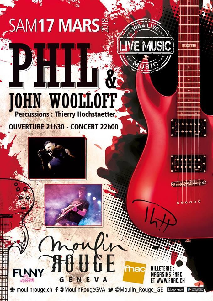 Affiche du concert de Phil au Moulin Rouge à Geneve